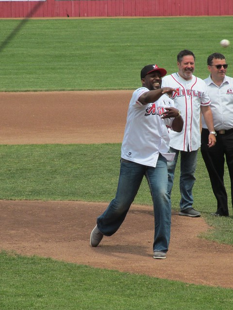 Vladimir Guerrero throwing the first pitch