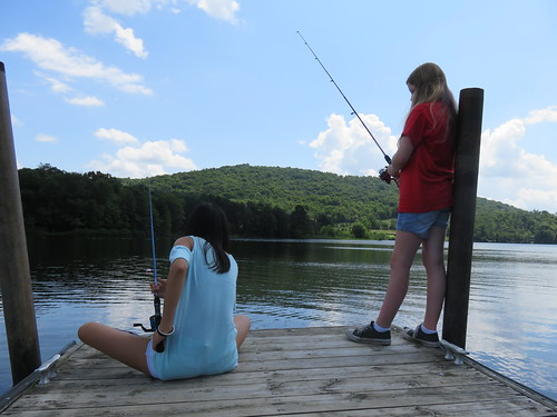 Photo of girls fishing from pier at Lake Habeeb, Rocky Gap State Park