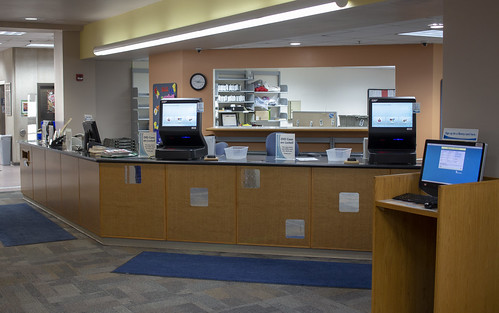 Circulation desk and self-checkout stations
