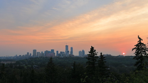 edmonton sunset smoky city tree sky dawn dusk landscape downtown skyline building cityscape outdoors forest sunrise evening architecture hill skyscraper outdoor nature travel view redsky metropolitanarea daytime sun morning cloud urbanarea atmosphere cloudy