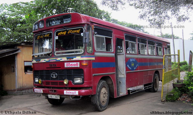 Ruby bodied TATA LP 1510/52 bus from SLTB Ratnapura depot