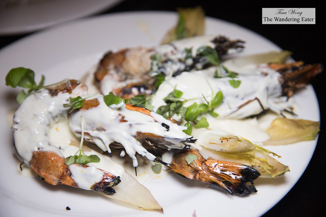 Grilled Head-On Prawns with kohlrabi, endive, truffle citrus crema