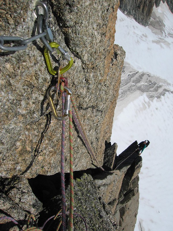 The top of the cassic Contamines route on Pointe Lachenal, Chamonix, France