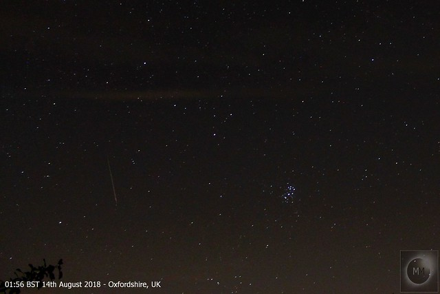 Perseid Meteor & Pleiades 13th/14th August 2018