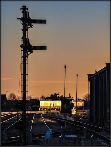 crosscountry turbostar class170 march railwaystation sunrise dawn semaphoresignals railway train