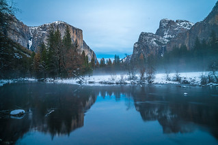 Blue Hour! Fine Art Yosemite National Park Winter Snow Landscape Photography! Valley View Merced River! Sony A7R II Mirrorless & Carl Zeiss Vario-Tessar T* FE 16-35mm f/4 ZA OSS Lens SEL1635Z! Scenic Yosemite California Sunset, Dusk, & Blue Hour! | by 45SURF Hero's Odyssey Mythology Landscapes & Godde
