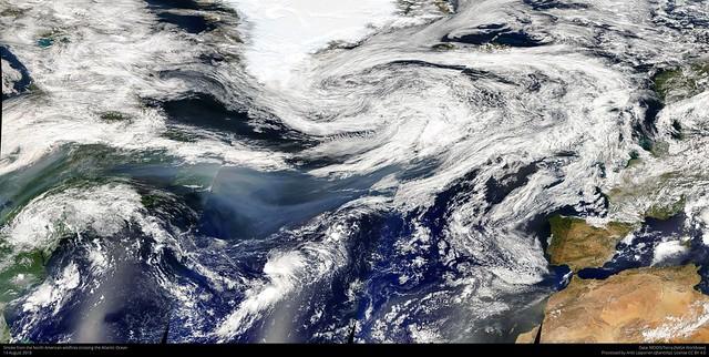 Smoke over the Atlantic Ocean