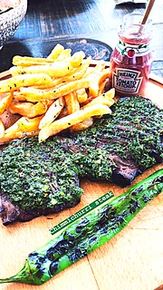 What Is Life Without Food?!? Tasty chimichurri steak accompanied by fries and ketchup! Enjoyed at the beautiful island of St. Barths! 😍👌 #food #steak #chimichurri #fries | by alvaro_orte