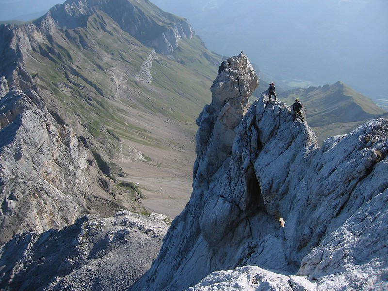 The Arete du Doigt on the Pointe Percée, Aravis, France