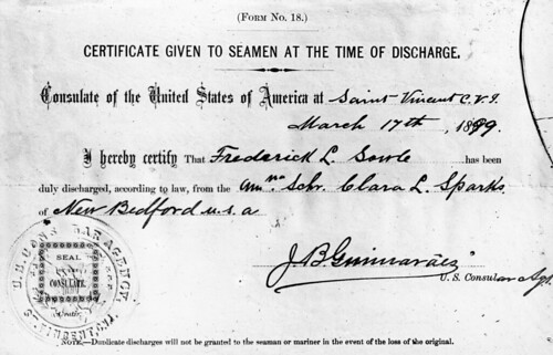 Certificate given to Sowle at the time of his discharge from the Clara L. Sparks by the U.S. Consulate in São Vicente, Cape Verde | by New Bedford Whaling Museum