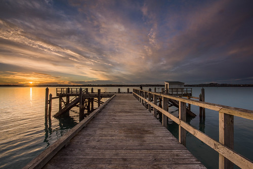 sunrise jetty wharf colour coast moody landscape