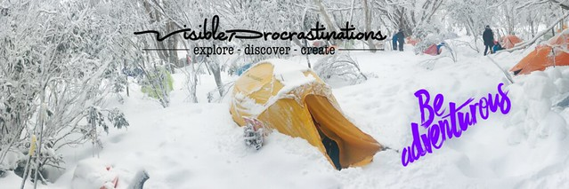 Photo of a tent in the snow, labelled 'Be Adventurous'