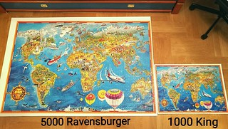 Big & Small - 5000 Ravensburger & 1000 King - Illustrated World Map | by Puzzabell
