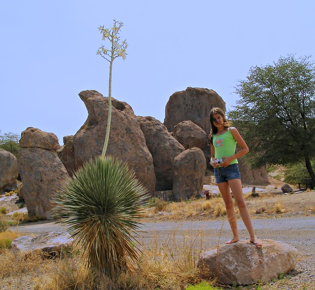 The barefooted girl, Yucca & rocks