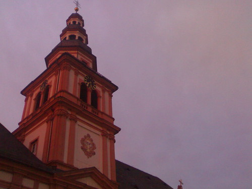 sky tower clock church sunrise germany purple outdoor f1 mannheim badenwürttemberg stsebastian sebastianskirche