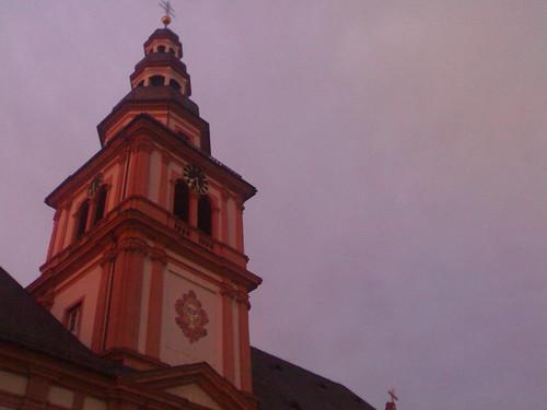 sky tower clock church sunrise germany purple outdoor f1 mannheim badenwürttemberg stsebastian sebastianskirche