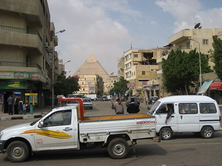 Seeing a Pyramid from the streets of Cairo - the city abuts the monuments | by Wayan Vota