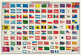 National Flags by an unknown artist, showing  emblems and flags of different countries. Original from Library of Congress. Digitally enhanced by rawpixel.
