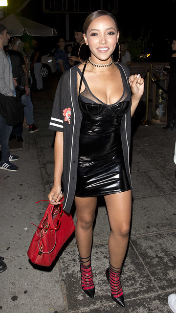 Tinashe in vinyl dress
