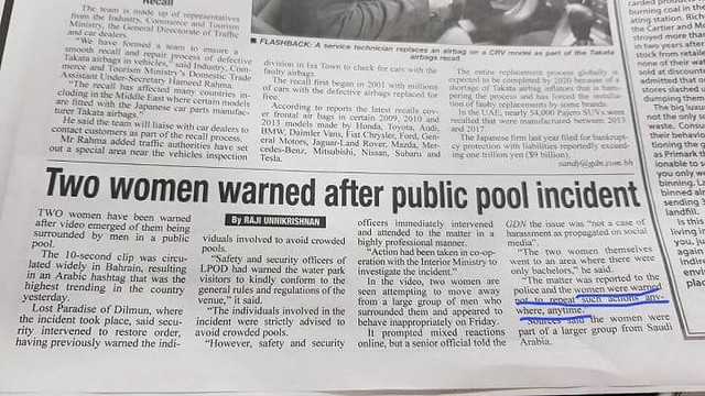 4617 Bahrain authorities warned two women after being sexually harassed in public pool