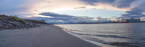 columbiariver rainieroregon oregon sunset water river beach lewisandclarkbridge summer sky sundown