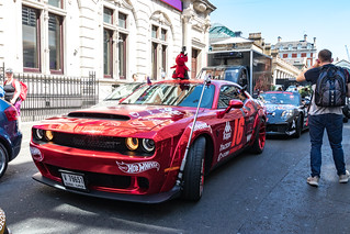 Gumball 3000 Rally 2018 : A Dodge Challenger SRT in Covent Garden.