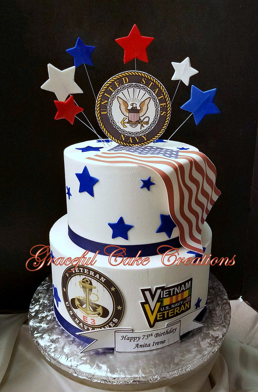 Navy Themed 75th Birthday Cake
