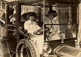 Vera 'Jack' Holme driving Emmeline Pankhurst (sitting in the back) and others to Scotland, 1909   by LSE Library