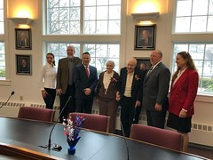 Rep. Sampson celebrating the first official Patriots' Day in Wolcott following the passage of his bill making the unpaid holiday official in Connecticut.