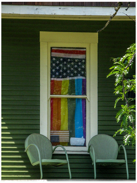 One Window,Two Chairs, Three Flags