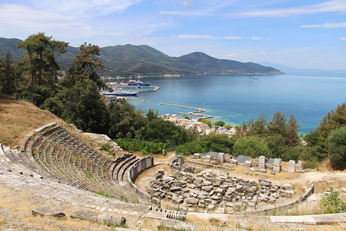 ancient harbour harbor ampetheatre ruin rustic greek greece old stone