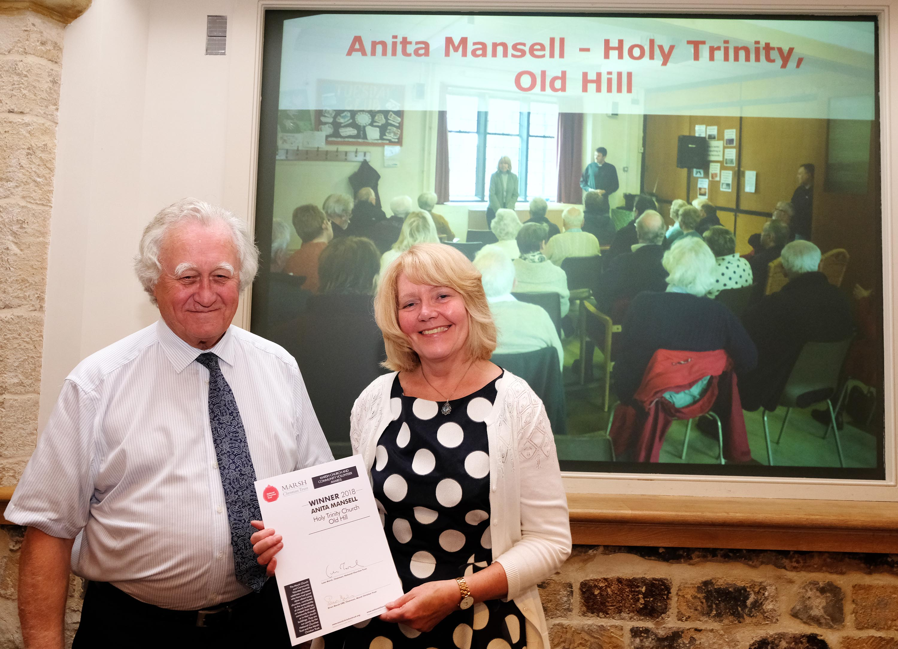 Brian Marsh from Marsh Christian Trust with Anita Mansell (c Mike Swift)