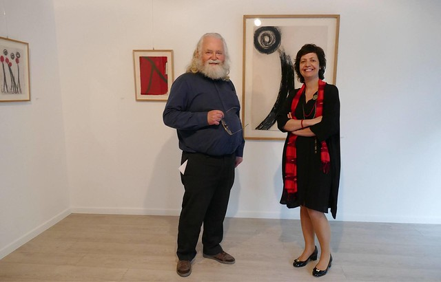 Jan Theuninck visiting Portuguese artist Teresa Gonçalves Lobo at Casa do Brasil in Brussels