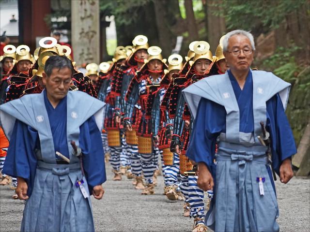 Groupe de samourai dans la procession Hyakumono-Zoroe Sennin Gyoretsu (Shunki reitaisai, Nikko)