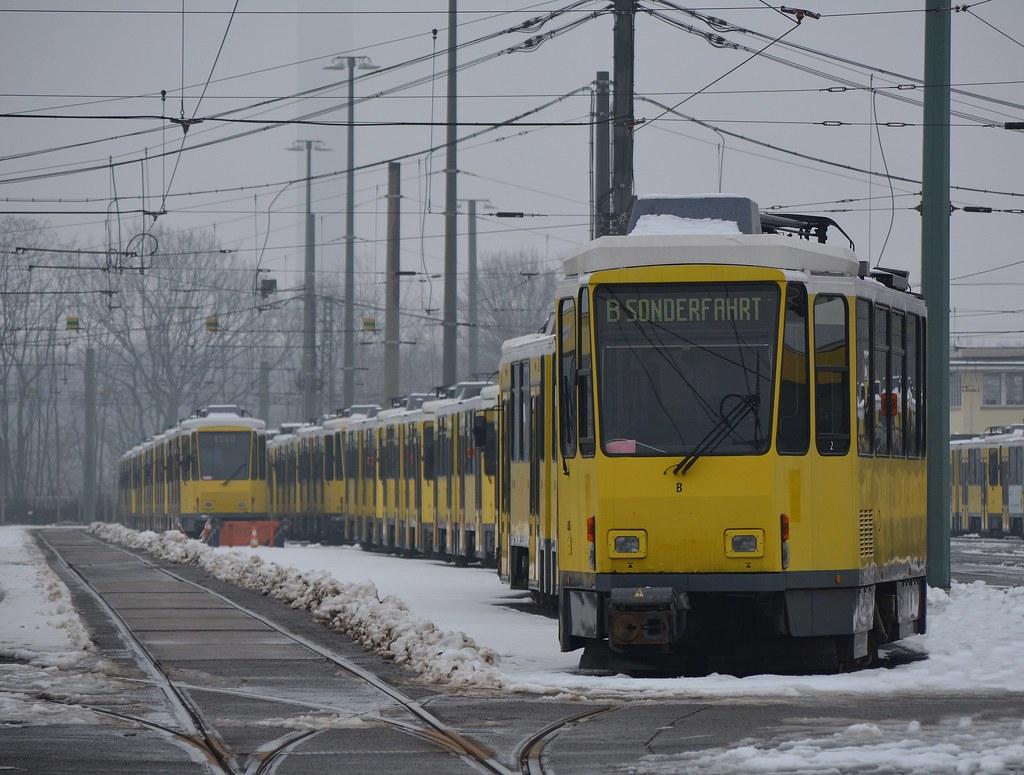 Abgestellte Tatras im Betriebshof Lichtenberg