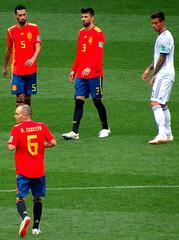 Sergio Busquets, Gerard Pique, Fyodor Smolov and Andres Iniesta