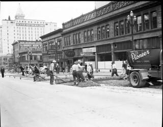 Repaving Third Avenue near Marion Street, 1943
