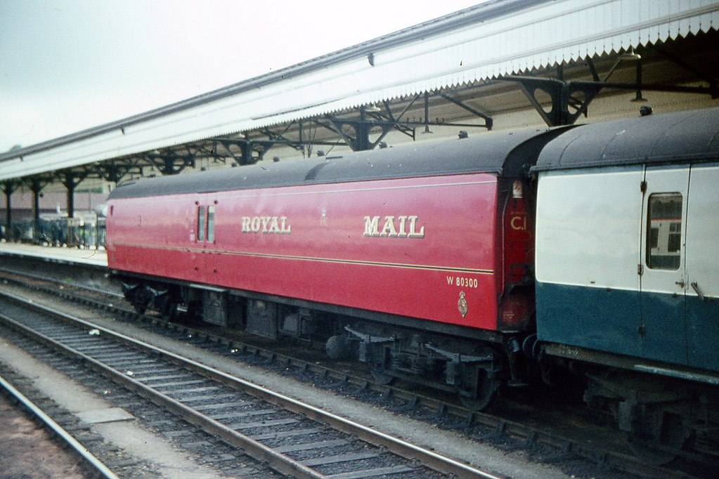 Royal Mail Coach W80300 at Exeter St.Davids 26.05.1970 F282......A Jim Freebury Railway Slide collection picture.