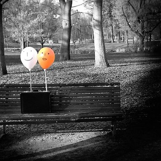 Happy baloons #baloons #happy #blackandwhite #bw #orange #park #garden #bench #music #video #instagood #photooftheday #picoftheday #igers #igersitalia #igersmilano #fun #love #face | by Mario De Carli