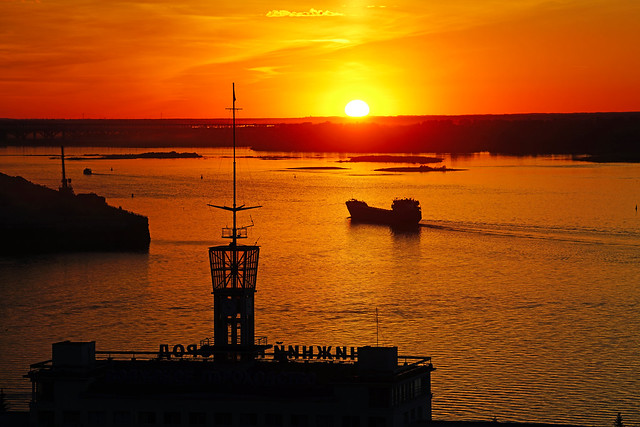 Junction of the rivers Oka & Volga at sunset, Nizhny Novgorod, Russia