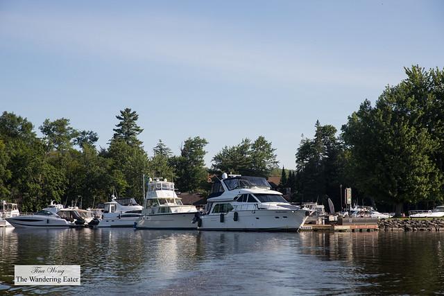 Yachts around the marina