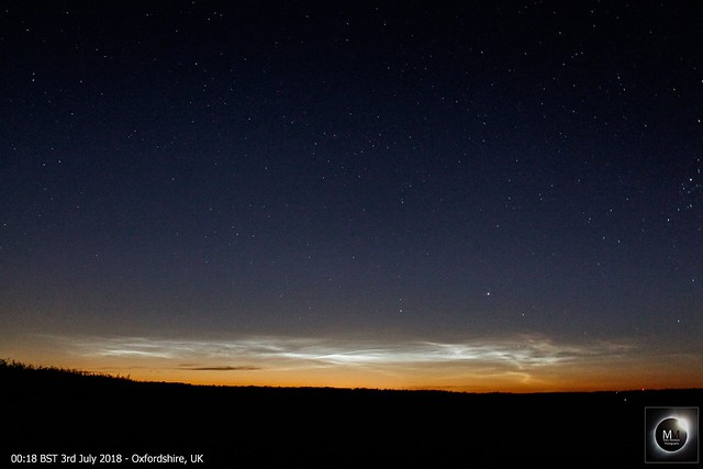 Noctilucent Clouds from Oxfordshire - Overnight 2nd/3rd July 2018