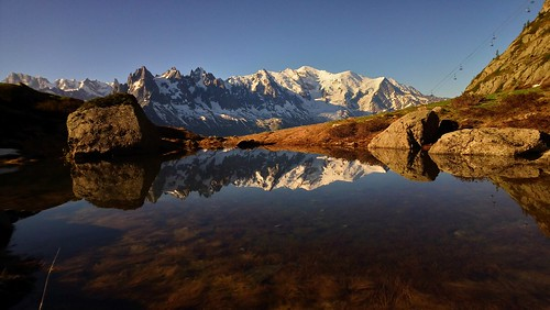 france mont blanc chamonix peak lake reflection flegere glacier cloud morning sunrise pond
