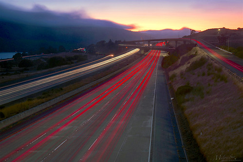 trafficlighttrails lighttrails interstate280 route92 sanmateo lowfog foginsf longexposure dusk seascape bay ngc bayarea wave ocean shore seaside coast california landscape outdoor clouds sky mountain rollinghills evening sunset traffictrails summer
