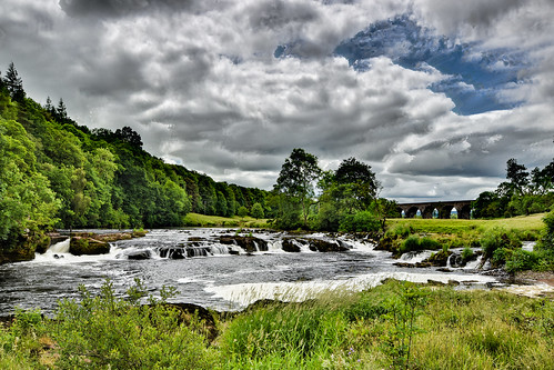 river eden rivereden weir splash green blue forest viaduct nikon d5500 clouds sky summer