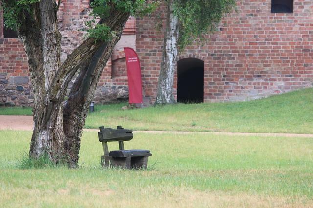 Eine Holzbank steht in der Wiese unter einem alten Baum. Im Hintergrund ist die aus Ziegeln erbaute Mauer eines Klostergebäudes zu sehen.
