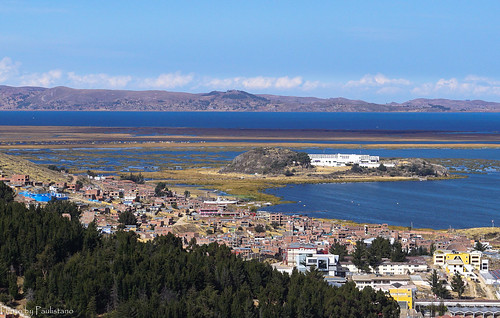 travel peru andes sky altiplano mountains puno lake titicaca urosislands water cloud landscape nature building architecture city tree bay