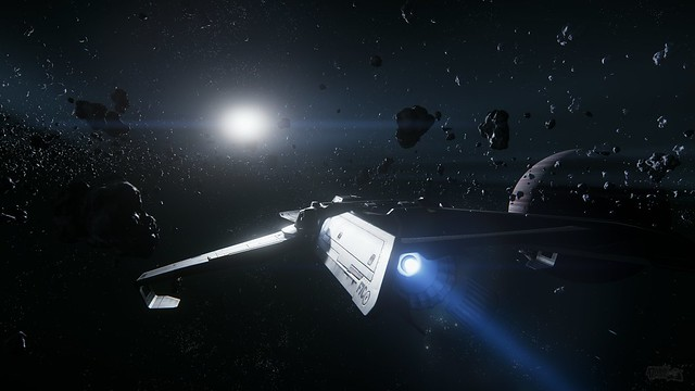 Anvil Aerospace F7C leaving Yela's asteroid belt