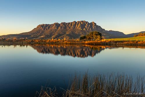 australia eaglesnestretreat mountain mtroland tasmania tassie westkentish dam landscape reflection sunrise water