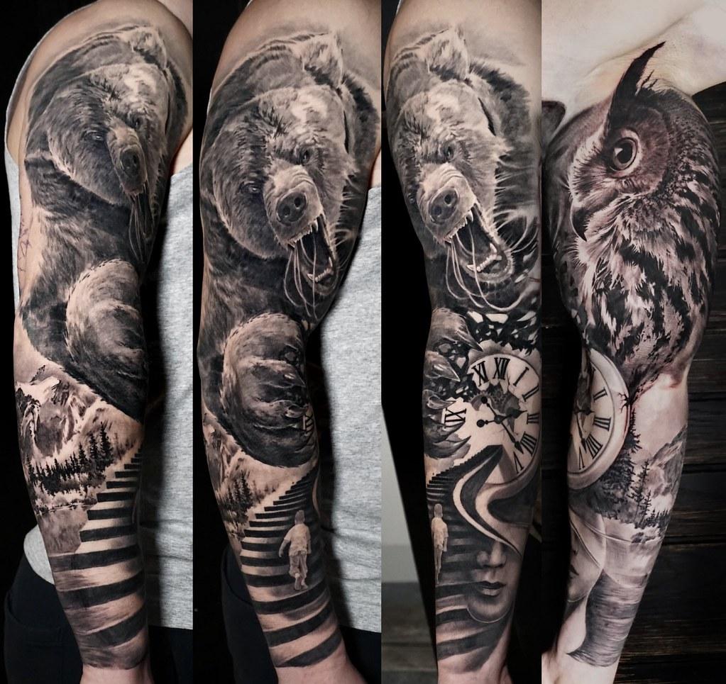 Black And Grey Tattoo Angry Bear Full Sleeve Alo Loco